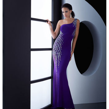 Jasz Couture Purple One Shoulder Sheer Back Dress Prom 2015