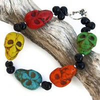 Skull Bracelet Halloween Day of the Dead Magnesite Onyx OOAK Jewelry
