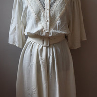 1980s Lightweight Lace Polyester Dress, M/L