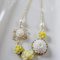 Gold Flower Necklace - White Yellow Cabachon Blossoms, Oval Pearls - Bold Statement - Bridal Jewelry