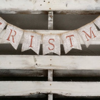 Christmas Burlap Banner Winter Banner Holiday Decor Rustic