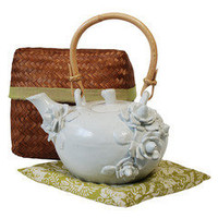 Glimpse Living Zen Zen White Flower Tea Pot