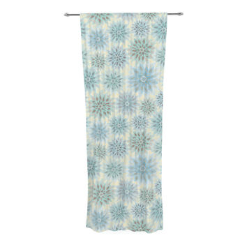 "Julia Grifol ""My Delicate Flowers"" Blue Green Decorative Sheer Curtain - 30"" x 84"""