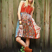 Sustainable Tammy Jo Dress Fall Colors Orange Paisley Hippie... review at Kaboodle
