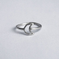 Silver Moon Knuckle Ring, Sterling Silver Moon, Moon Knuckle Ring