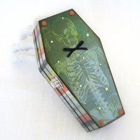 Halloween Decor Coffin Box Halloween Decoration Spooky Skeleton Vintage Skeleton Green Decorated Coffin Box Whimsical Coffin Box Stripes