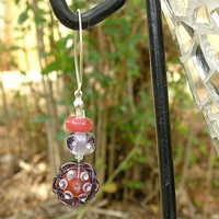 Long Lampwork Earrings, Handmade Glass Beads, Violet  Pink, Flower Glass Beads Earrings, Sterling Silver Hook,  OOAK