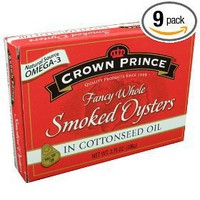 Crown Prince Smoked Oysters in Cottonseed Oil, 3.75-Ounce (Pack of 9)