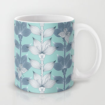 WHITE AND BLUE FLOWERS Mug by Juliagrifol Designs
