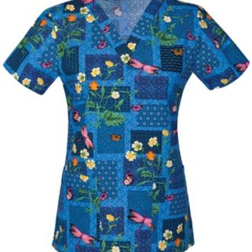 Buy Cherokee Fashion Women's Dragonfly Delight V-Neck Printed Scrub Top for $17.45