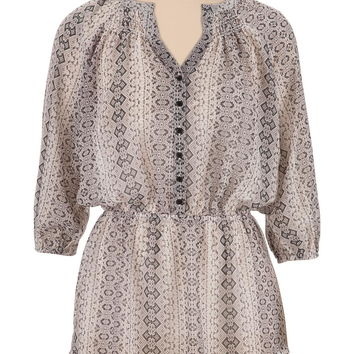 printed chiffon tunic with elastic waist