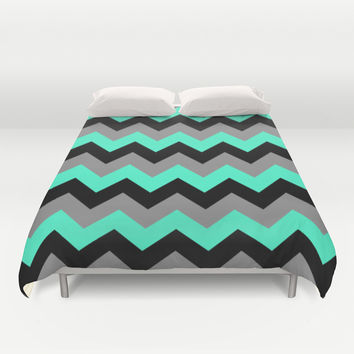 Chevron Silver Blue Duvet Cover by Alice Gosling