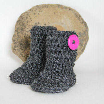 Baby Booties Baby Boots Grey Crochet Baby Boots with Hot Pink Button Detail