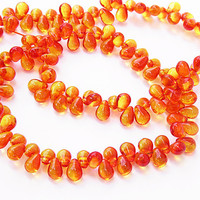 Czech Glass Orange Yellow Drops Fire Opal 40 Pieces 4x6  B682A