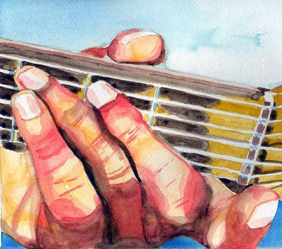 Guitar Player's Hand Original Watercolor Painting