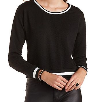 Textured Ringer Sweatshirt by Charlotte Russe - Black Combo