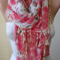 NEW - Pink and Beige and Green - Silk - Chiffon Scarf with Beige Trim Edge - Roses and Butterflies