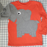 Elephant trunk sleeve toddlers size 18 M crewneck shirt ORANGE boy girl