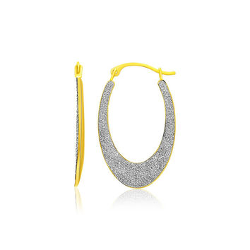 14K Two-Tone Gold Graduated Oval Textured Hoop Earrings