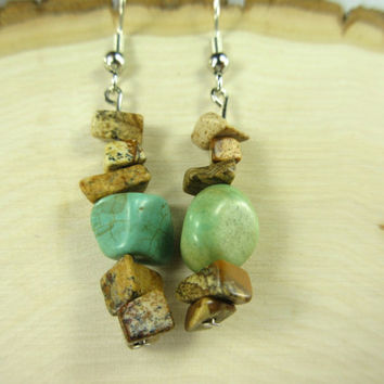 Turquoise Earrings with Brown Stone Chip Beads