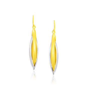 14K Two-Tone Gold Long Earrings with a Marquise Style