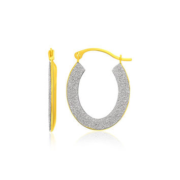 14K Two-Tone Gold Oval Textured Hoop Earrings