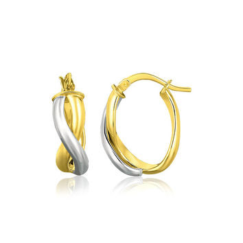 14K Two-Tone Gold Oval Twisted Hoop Earrings