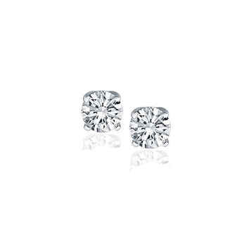 14K White Gold Diamond Four Prong Stud Earrings (1/2 c.t. tw.)