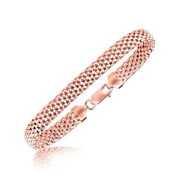 Sterling Silver Mesh Design Bangle with Rose Tone Plating