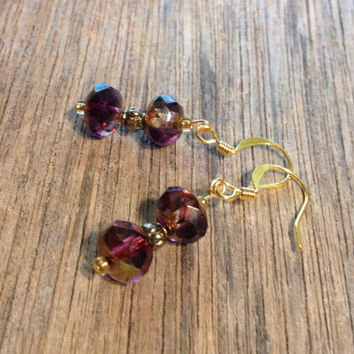 Grape Gold Luster Earrings, Purple, Czech Glass, Gold, Handmade, Jewelry