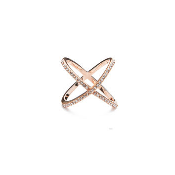 Pave Infinity X Ring  Rose Gold