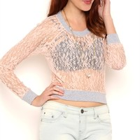 Sheer Lace Crop Top with Athletic Band Cuffs