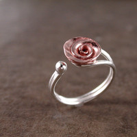 Rose ring Copper  Sterling silver  adjustable  floral fashion