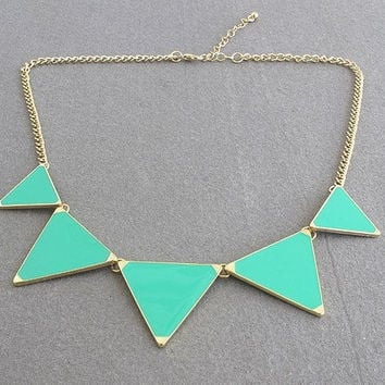 Triangle necklace, geometric necklace,green Triangle necklace, ON SALE