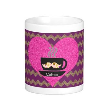 Purple Chevron Mustache Coffee Mug