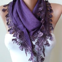 New - Purple Silky Scarf with Purple Trim Edge