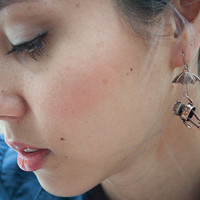 Copper Robot and Umbrella Earrings by chandlertherobot on Etsy