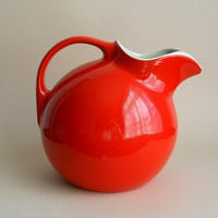 Vintage Chinese Red Hall Pottery Tilted Ball Pitcher