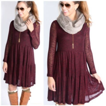 How We Do Burgundy   Black Knit Dress