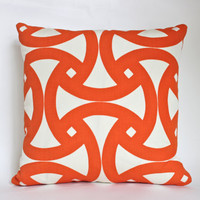 Schumacher Pillow Covers, Tangerine and Ivory Geometric Design, Two 18x18 Pillow Covers