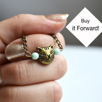 Cat Necklace, Cat Lovers, Rescue Cat Necklace, Mint Beads,Crazy Cat Lady, Canadian Shop