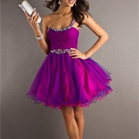 Short A-line One Shoulder with Beadings Scoop Neckline Twisted bodice Tulle Prom Dress PD2179 Dresses UK
