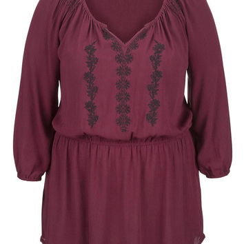 Plus size Peasant top with embroidery