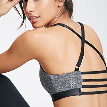 Low Impact  Faux Leather-Trimmed Sports Bra