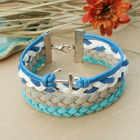 Anchor bracelet-Blue anchor bracelet-Fashion bracelet  for girl friend or boyfriend