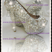 thick platform crystal swarovski pearls14cm high heels wemens wedding dress shoes peeptoe pumps 5.5-8.5 us size