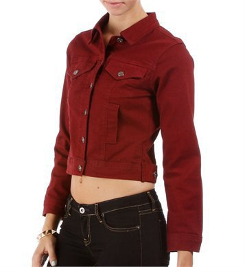 Burgundy Denim Jacket