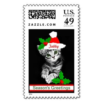 Christmas Santa Tabby Cat Postage Stamp Custom