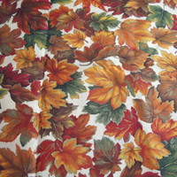 Fabric 2 yards Autumn Leaf design Fall color gold green red rust bronze maroon cotton