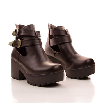 Hayden2 Cut Out Double Buckle Strap Lug Sole Ankle Bootie